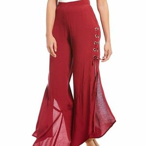 NEW Willow & Clay Gromet Lace-Up Boho Pants Wine